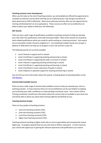 supporting information for teaching assistant job application