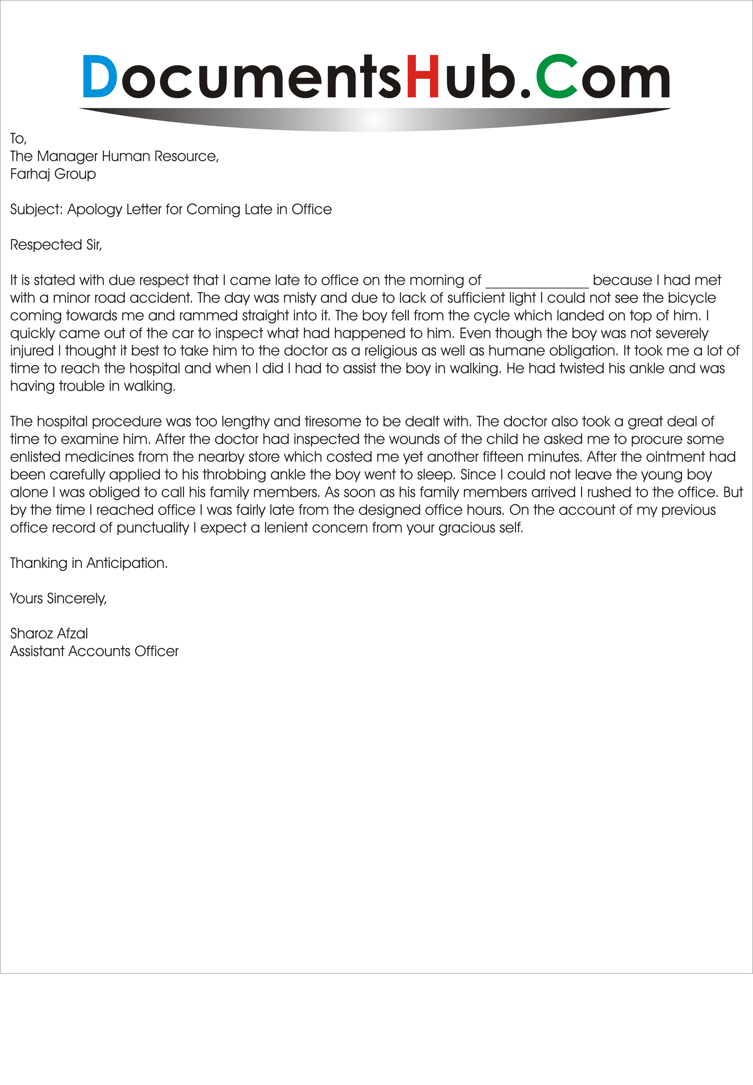 sample email late job application