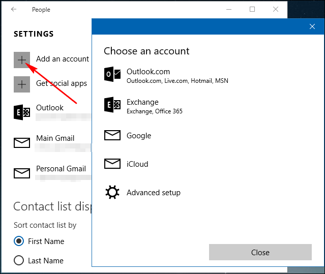 import mail and contacts windows 10 mail application